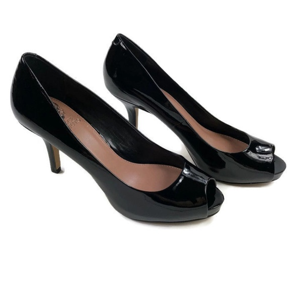 3133b913c2 Vince Camuto Shoes | Peep Toe Black Patent Leather Heels | Poshmark